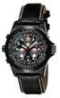 Torgoen T1 Watch - Black Leather Strap, Black / Silver Face, Black Case
