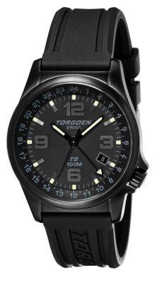 Torgoen T5 Zulu Time Watch - Black Polyurethane Strap, Black Face, Black Case