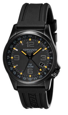 Torgoen T5 Zulu Time Watch - Black Polyurethane Strap, Black Case, Black/yellow Dials