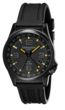 Torgoen T5 Zulu Time Watch - Black Polyurethane Strap, Black Case, Black/Yellow Dials