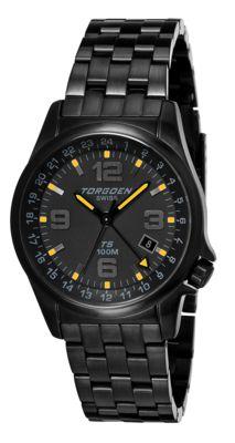 Torgoen T5 Zulu Time Watch - Black Steel Bracelet, Black Case, Yellow/black Dials