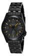 Torgoen T5 Zulu Time Watch - Black Steel Bracelet, Black Case, Yellow/Black Dials