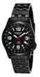 Torgoen T5 Zulu Time Watch - Black Steel Bracelet, Black Case, White Dials