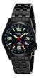 Torgoen T5 Zulu Time Watch - Black Steel Bracelet, Black Case, White Dials