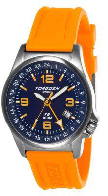 Torgoen T5 Zulu Time Watch - Orange Polyurethane Strap, Blue Face, Silver Case