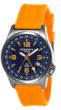 Torgoen T5 Zulu Time Watch - Orange Polyurethane Strap, Blue Face, Silver Case