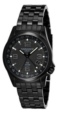Torgoen T5 Zulu Time Watch - Black Stainless Steel Bracelet, Black Case, Black/white Dials