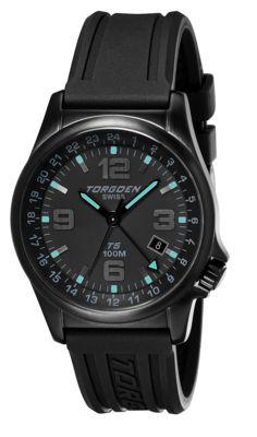 Torgoen T5 Zulu Time Watch - Black Polyurethane Strap, Black Case, Black/teal Dials