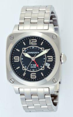 Torgoen Ladies T15 Zulu Time Watch - Steel Bracelet, Black Face, Silver Case