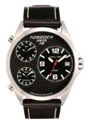 Torgoen T8 Zulu Time Watch  - Black Leather Strap, Steel Case, Black Face