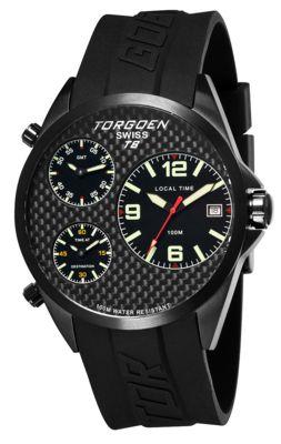 Torgoen T8 Zulu Time Watch - Black Strap, Black Steel Case, Black Carbon Fiber Face