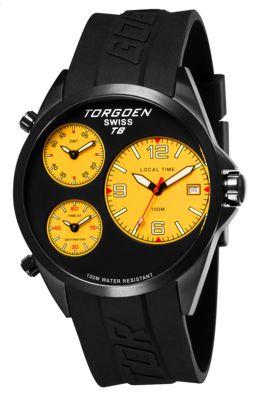 Torgoen T8 Zulu Time Watch - Black Strap, Black Steel Case, Yellow Dials