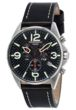Torgoen T16 Watch - Black Leather Strap, Steel Case, Black Face