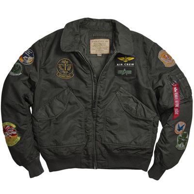 Alpha CWU-45P Pilot Nylon Flight Jacket with Patches - Sage/Black