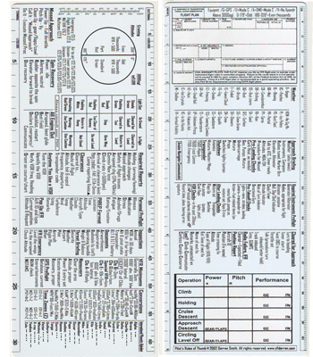Pilots Rules Of Thumb Reference Checklist / Ruler
