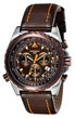 Torgoen T22 E6B Flight Computer Watch - Brown Leather Strap T22102