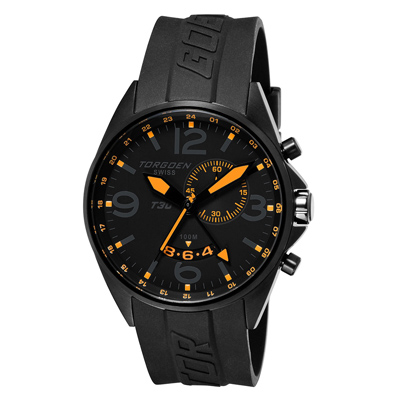 Torgoen T30 Dual Time Watch - Black Strap, Black Face T30304