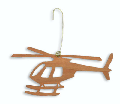Cherry Wood Helicopter Ornament