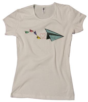 Paper Plane Love Notes Ladies T-Shirt