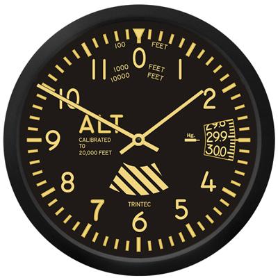 Vintage Altimeter Wall Clock - 10 Inch
