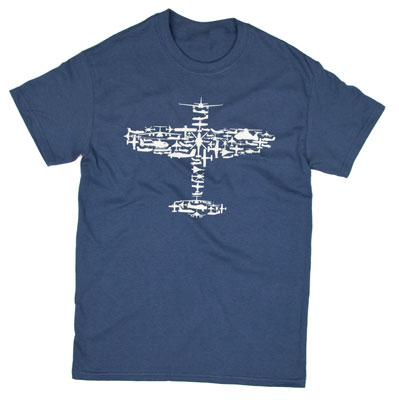 Plane Collage T-Shirt - Blue Dusk