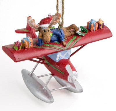 Sea Plane Ornament with Moose