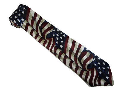 Large Waving American Flag Silk Tie