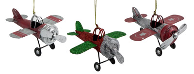 Tin Airplane Ornaments - Set of 3