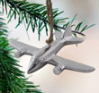 Silver Airplane Metal Ornament