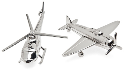 Airplane & Helicopter Salt and Pepper Shakers - Nickel Plated