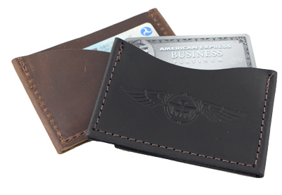 Leather Airplane Credit Card Sleeve