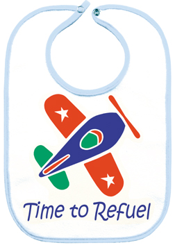 Time to Refuel Baby Bib - Blue