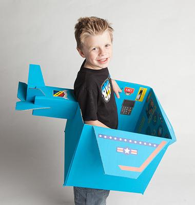 Cardboard Box Airplane Sticker Kit