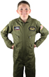 Kids Air Force Style Flight Suit - Olive Drab with Patches