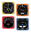 Retro Modern Aircraft Instrument Acrylic Coaster Set