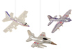 Patriotic Bomber, Fighter, and Transport Glass Ornaments