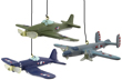 WWII Fighter and Bomber Ornaments - Set of 3