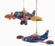 Jet and Multi-Engine Tin Airplane Ornaments - Set of 2