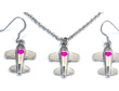 Airplane Heart Pink Fuchsia Silver Tone Necklace & Earrings