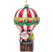 Santa Hot Air Balloon Glass Ornament