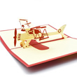 Red Bi-Plane Pop Up 3D Greeting Card