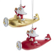 Santa Flying Red and Gold Airplanes Ornament