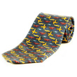 Aviator Airplane Tie 100% Silk - Navy Blue
