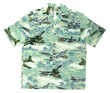 Sea Foam Green Hawaiian Airplane Shirt