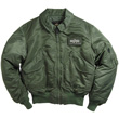 Alpha CWU-45P Nylon Flight Jacket - Sage Green